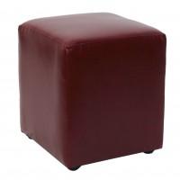 Taburet Cube tip cub, fix, patrat, imitatie piele, visiniu, 38 x 38 x 45 cm, 1C