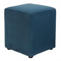 Taburet Cube tip cub, fix, patrat, stofa, turcoaz, 38 x 38 x 45 cm, 1C