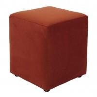 Taburet Cube tip cub, fix, patrat, stofa, portocaliu, 38 x 38 x 45 cm, 1C