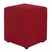 Taburet Cube tip cub, fix, patrat, stofa, rosu, 38 x 38 x 45 cm, 1C