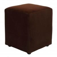 Taburet Cube tip cub, fix, patrat, stofa, maro, 38 x 38 x 45 cm, 1C