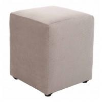 Taburet Cube tip cub, fix, patrat, stofa, crem, 38 x 38 x 45 cm, 1C