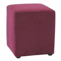 Taburet Cube tip cub, fix, patrat, stofa, mov, 38 x 38 x 45 cm, 1C