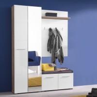 Cuier hol Beny cu 5 agatatori, oglinda, dulap si comoda, stejar gri + alb lucios, 4 usi, 1392 x 353 x 1924 mm, 6C
