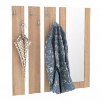Cuier hol pentru perete Next 10, cu 6 agatatori + oglinda, stejar bardolino, 850 x 20 x 922 mm, 1C