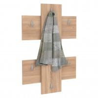 Cuier hol pentru perete Next 3, cu 6 agatatori, stejar bardolino, 672 x 32 x 922 mm, 1C