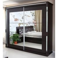 Dulap dormitor Allegro L220, wenge, 2 usi glisante, cu oglinda, 220.5 x 62 x 213 cm, 11C