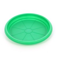 Farfurie ghiveci Dalia, plastic, rotund, verde, D 15.3 cm