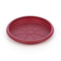 Farfurie ghiveci Dalia, plastic, rotund, visiniu, D 15.3 cm