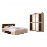 Dormitor Adam, pat + dulap, stejar bardolino + sonoma dark, 8C