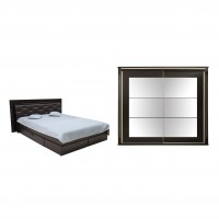 Dormitor Allegro, pat + dulap, wenge, 16C