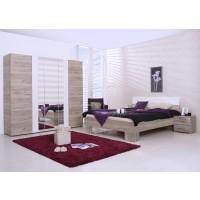 Dormitor complet Dante, stejar gri + alb lucios, 4 piese, 10C