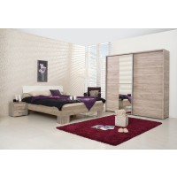 Dormitor complet Logan, stejar gri, 4 piese, 8C