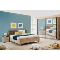 Dormitor complet Navara, stejar gri + gri + folie lucioasa nisip, 4 piese, 13C