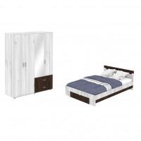 Dormitor Raul, pat + dulap D4, gri A480 + sonoma dark, 7C