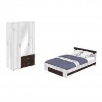 Dormitor Raul, pat + dulap cu 3 usi, gri A480 + sonoma dark, 6C