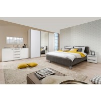 Dormitor complet Ksanti 270 U, alb + alb lucios + gri, 5 piese, 17C