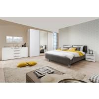 Dormitor complet Ksanti 270 U, alb mat + folie lucioasa alba + gri, 5 piese, 17C