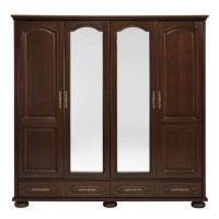 Dulap dormitor Berry, nuc, 4 usi, cu oglinda, 197 x 60 x 196.5 cm, 4C