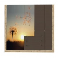 Dulap dormitor Verona D5, sherwood + maro + print P27, 247 x 53 x 205 cm, 5C