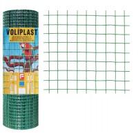Plasa gard ornamental Voliplast, acoperita cu PVC, verde, 0,5 x 10 m (1,2 x 13 x 13 mm)