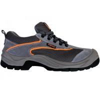 Pantofi de protectie Emerton cu bombeu metalic, piele spalt +  material textil, gri, S1, marimea 40