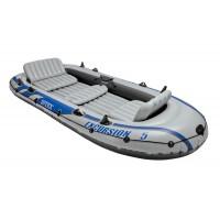 Set barca gonflabila / pneumatica Intex 68325NP Excursion 5, pentru 5 persoane, 366 x 168 x 43 cm + vasle + pompa manuala