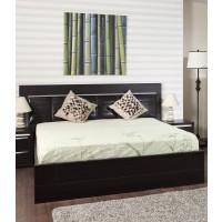 Pat dormitor Allegro, matrimonial, tapitat, cu sertar, wenge, 140 x 200 cm, 5C