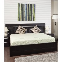 Pat dormitor Allegro, matrimonial, tapitat, cu sertar, wenge, 180 x 200 cm, 5C