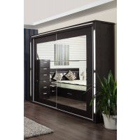 Dulap dormitor Allegro L250, wenge, 2 usi glisante, cu oglinda, 248 x 61.5 x 213 cm, 11C