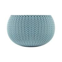 Ghiveci din plastic cu finisaj ratan sintetic Cozies Curver, suspendat, albastru D 28 cm