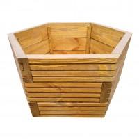 Ghiveci din lemn, DJ mare, hexagonal, maro, 66 x 66 x 35 cm