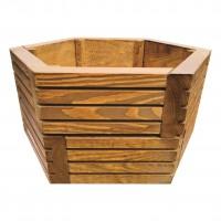 Ghiveci din lemn, DJ mic, hexagonal, maro, 44 x 44 x 23 cm