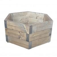 Ghiveci din lemn, hexagonal, natur, pentru interior / exterior, 56 x 56 x 28 cm