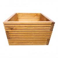Ghiveci din lemn, DJ mare, patrat, maro, 50 x 50 x 35 cm