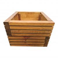 Ghiveci din lemn, DJ mic, patrat, maro, 29.5 x 29.5 x 23 cm