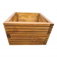 Ghiveci din lemn, DJ mijlociu, patrat, maro, 39.5 x 39.5 x 29 cm