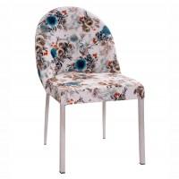 Scaun bucatarie / living fix Greta, tapitat, metal antracit perlat + material textil turcoaz