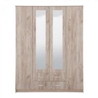 Dulap dormitor Hana 4K2F2O, stejar gri, 4 usi, cu oglinda, 160 x 52 x 205 cm, 3C