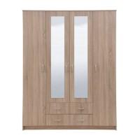 Dulap dormitor Hana 4K2F2O, stejar sonoma, 4 usi, cu oglinda, 160 x 52 x 205 cm, 3C