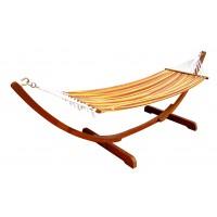 Hamac cu bare din lemn + suport din lemn, HHO569, 320 x 98.5 x 100 cm