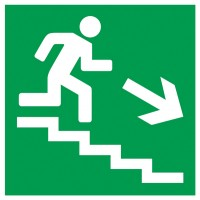 Indicator iesire urgenta jos scari dreapta Sun Prints, reflectorizant, PVC, patrat, 15 x 15 cm