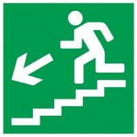 Indicator iesire urgenta jos scari stanga Sun Prints, reflectorizant, PVC, patrat, 15 x 15 cm