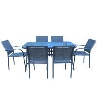 Set masa dreptunghiulara, cu 6 scaune, pentru gradina Oslo SPT-00066, din metal cu textil