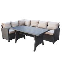 Set masa cu 1 coltar cu perne pentru gradina Sofa 43M LX-015 din metal cu ratan sintetic