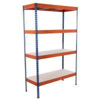 Raft metalic depozitare Stabil 220 192 x 120 x 50 cm portocaliu si albastru 220 kg/polita