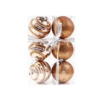 Globuri Craciun, aurii, D 8 cm, set 6 bucati, SD18-8-L1