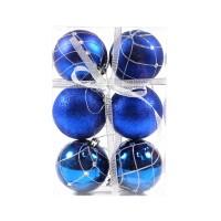 Globuri Craciun, albastre, D 8 cm, set 6 bucati, SD18-8-H3