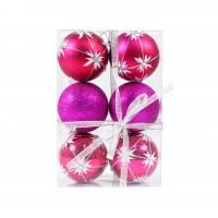 Globuri Craciun, roz, D 8 cm, set 6 bucati, SD18-8-I4