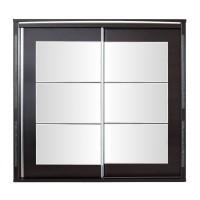 Dulap dormitor Allegro L235, wenge + saten lucios, 2 usi glisante, cu oglinda, 235 x 61 x 211 cm, 11C